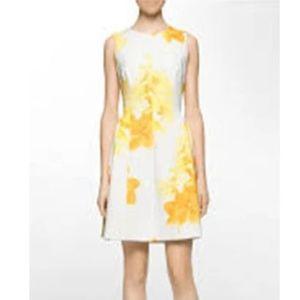 Calvin Klein - Yellow Flowers Cocktail Dress